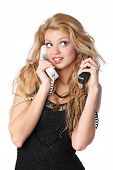 pic of long distance relationship  - Beautiful young woman talking on two phones at once - JPG