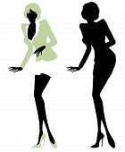 Illustrated silhouette of a sexy secretary