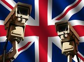 two CCTV cameras and rippled British flag illustration