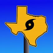 Texas warning sign with hurricane symbol on blue illustration