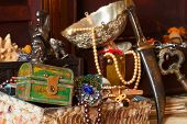 stock photo of treasure chest  - Few vintage treasure trunks with old jewellery - JPG