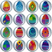 Conjunto de botones, huevos de Pascua,