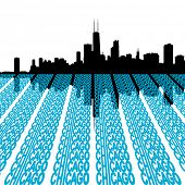 Chicago Skyline reflected with text illustration
