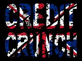 grunge Credit crunch text with British flag illustration