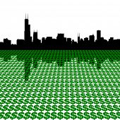 Chicago Skyline with dollars illustration