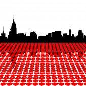 Midtown Manhattan skyline happy valentines day with hearts illustration