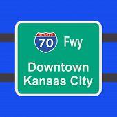 autopista a Ilustración de signo de Kansas City downtown