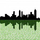 Atlanta skyline with binary perspective foreground