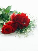 foto of one dozen roses  - half dozen red rose with trinity diamond ring in the center of one rose - JPG
