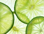 Sour background. Extreme close-up view of lime's slices