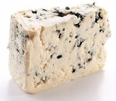 Blue cheese on a white background.