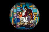 foto of stained glass  - Jesus with children design in stained glass window - JPG