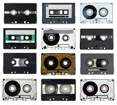 stock photo of magnetic tape  - Collection of vintage Compact Cassettes on white background - JPG
