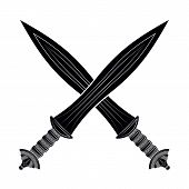 ������, ������: Two Crossed Gladius Sword Silhouette On White Background Medieval Weapons