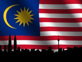 picture of kuala lumpur skyline  - Kuala Lumpur skyline and Petronas Towers with rippled Malaysian flag illustration - JPG