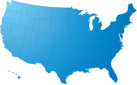 picture of usa map  - a blue map on a solid white background - JPG