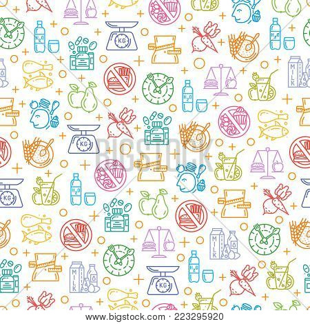 poster of Healthy diet icons seamless pattern, healthy dieting, rational nutrition icons, slimming loss weight, healthy lifestyle, balanced diet eating, organic food, vegetarian food, protein diet, healthy diet concept