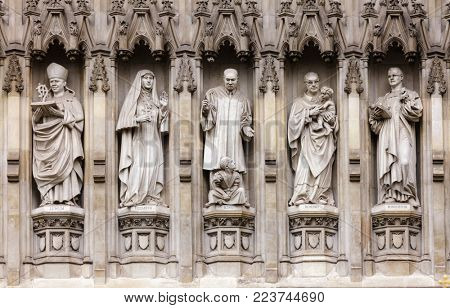 Westminster Abbey facade detail with