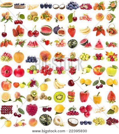 Постер, плакат: Коллекция свежие сочные фрукты и ягоды на белом фоне, холст на подрамнике