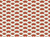 Oriental Half Moon Scallop Pattern Red (Vector)