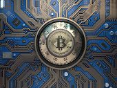 Bitcoin cryptocurrency security  and mining concept. Safe lock with symbol of bitcoin on circuit boa poster
