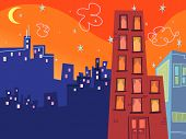 foto of pop art  - cartoon groovy buildings silhouettes  - JPG