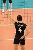 DEBRECEN, HUNGARY - JULY 9: Zsuzsanna Jozsa (in black 4) in action a CEV European League woman's vol