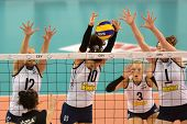 DEBRECEN, HUNGARY - JULY 9: Unidentified players in action a CEV European League woman's volleyball