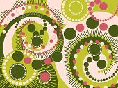 Retro Spiral Dots Green And Pink Pattern (Vector)