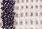 Many Bilberry Fruits, On Gray Linen Table Cloth With Copy Space Design Ready