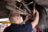 A male mechanic inspecting a CV joint on a car in an auto repair shop