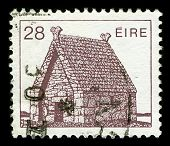 IRELAND-CIRCA 1985:A stamp printed in IRELAND shows image of A church building is a building or structure whose primary purpose is to facilitate the meeting of a church, circa 1985.