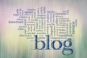 blogging and blog design word cloud - - text against motion blurred landscape abstract poster