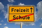 German Road Sign School And Leisure