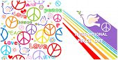 Greeting card with dove, peace symbol and rainbow for International Peace day and hippie wallpaper poster