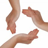 pic of holding hands  - Woman hands make the cycle - JPG