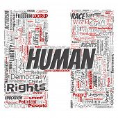 Conceptual human rights political freedom, democracy letter font H word cloud isolated background. C poster
