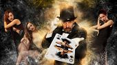 Magician in top hat showing trick on woman background poster