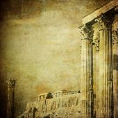 Vintage Image Of Greek Columns, Acropolis, Athens, Greece