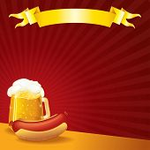 Sausage and Mug of Beer, vector illustration