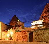 Cave Hotel At Night Goreme Turkey