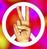3D Hand With Peace Sign