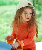 Caucasian Young Kid Girl With Cap