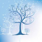 Tree Stylized In Winter Swirls