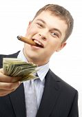 picture of hustler  - smoking gangster holding dollar bills over white - JPG