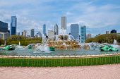 Buckingham Fountain With Chicago Skyline In The Background poster