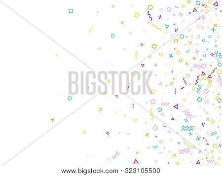 poster of Memphis Style Geometric Confetti Vector Background With Triangle, Circle, Square Shapes, Chevron And