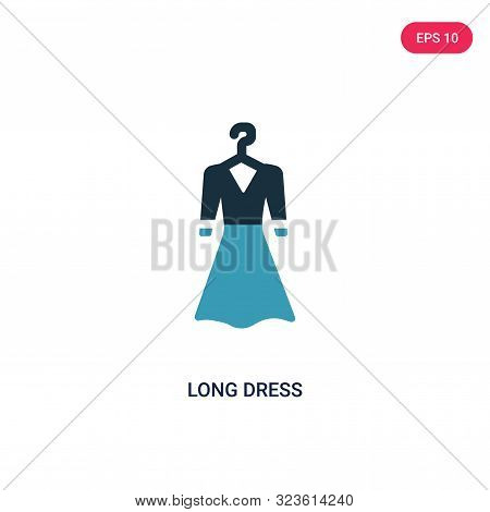 poster of long dress icon in two color design style.