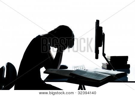 One caucasian young teenager silhouette girl computer computing laptop ...