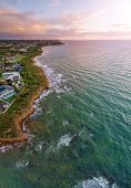 Vertical Aerial Panorama Of Mornington Peninsula Coastline In Melbourne, At Sunset poster